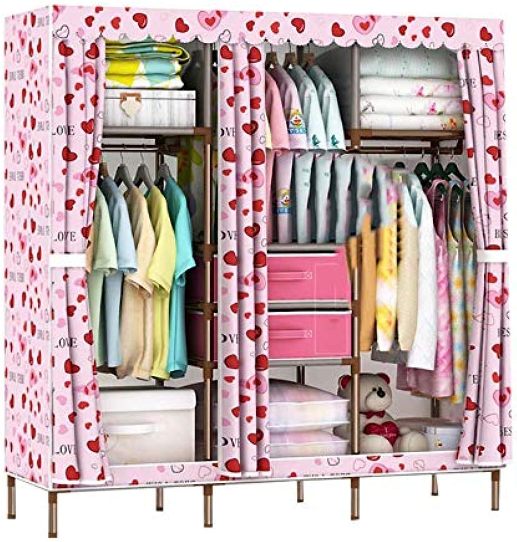 QD- Cloth Wardrobe-Easy Assembly Wardrobe, New Pp Compartment, 19mm Paint Tube, Thick Oxford Cloth Home Economy Wardrobe (color   E)