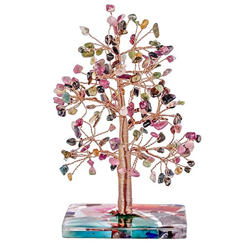Nupuyai Tourmaline Crystal Stone Money Tree Wrapped on Orgone Agate Slices Base, Tree of Life Crystal Bonsai Feng Shui Figurine Decor for Wealth and Luck 4.7-6 Inch