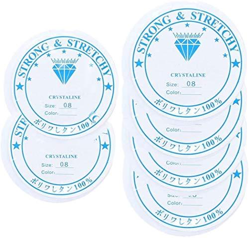 Voarge 6 x Schmuckfaden Elastisch Gummifaden Transparent, für Armbänder Transparent reissfest Faden für Perlenschmuck Armbänder Basteln Perlen fädeln (0.8mm)