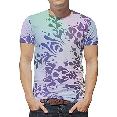 O3XEQ-8 Männer Bohimia T-Shirts Teenie Shirt, Magie Multicolor Gradient Mandela Vintage Out - Mandela Kunst Digitaldruck Atmungsaktiv Hemd White 4XL