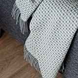 Linen und Cotton Luxus Warme Decke Wolldecke Wohndecke Kuscheldecke Valencia - 100prozent Wolle, Blau/Beige/Natur (135 x 205 cm), Sofadecke/Tagesdecke/Schurwolldecke/Decke Wolle/Schurwolle/Lammwolle