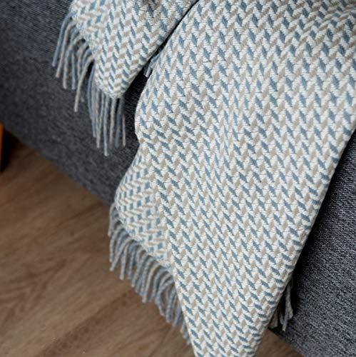 Linen & Cotton Luxus Warme Decke Wolldecke Wohndecke Kuscheldecke Valencia - 100% Wolle, Blau/Beige/Natur (135 x 205 cm), Sofadecke/Tagesdecke/Schurwolldecke/Decke Wolle/Schurwolle/Lammwolle