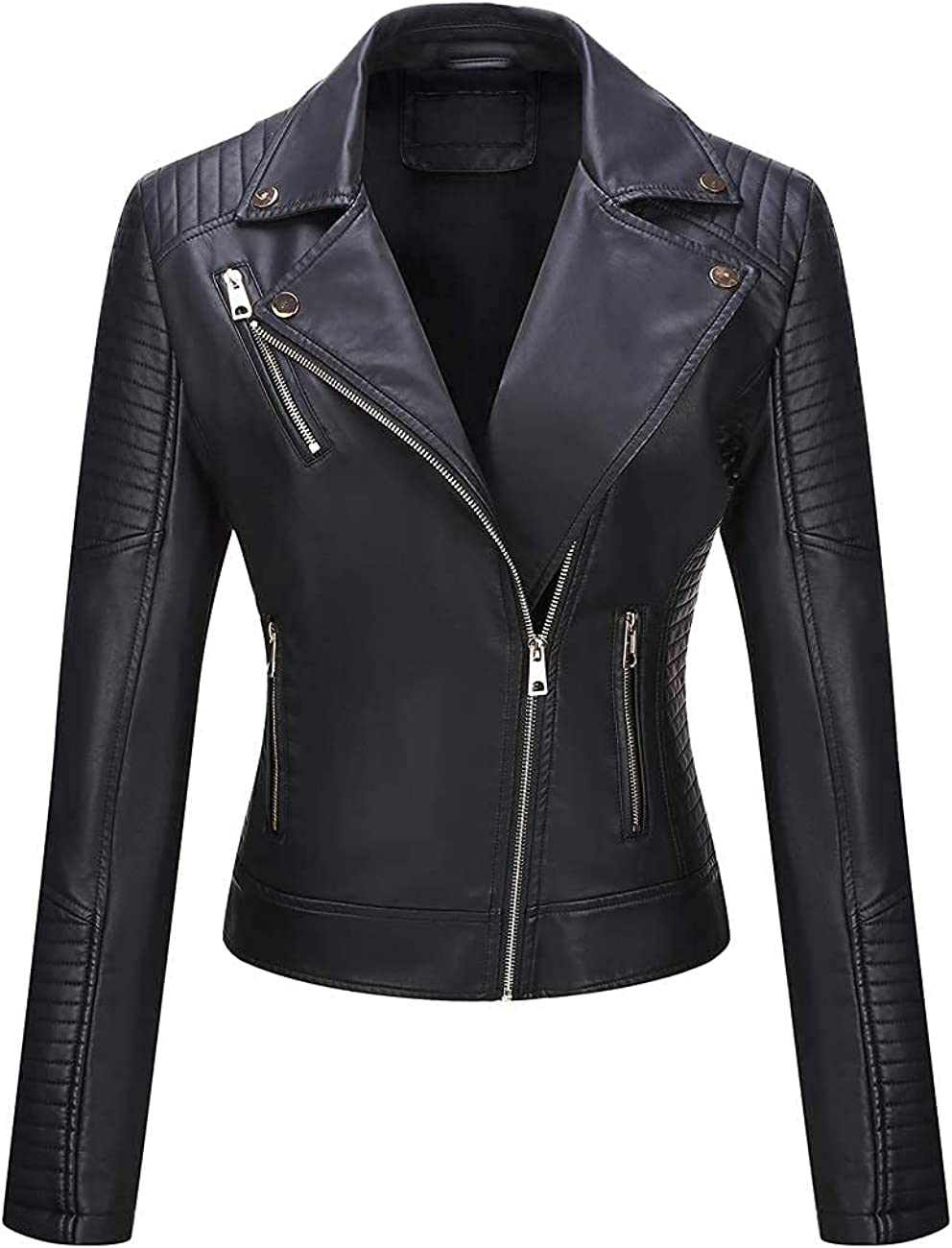 Giolshon Faux Leather Short Jacket Women Motorcycle Casual Coat