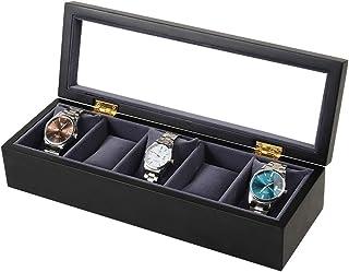 Lwieui Caja de Reloj Caja de Reloj Caja de Reloj de Madera 5 Ranura Reloj de Madera Caja de Regalo Exhibición de Joyas Caj...
