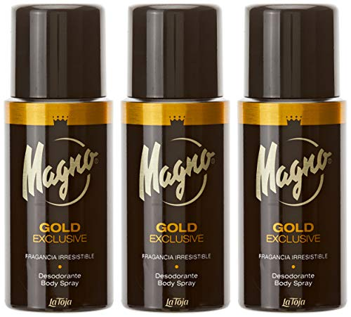 Magno Desodorante 'Spray Gold' Fragancia Irresistible - Pack de 3 x 150 ml (Total: 450 ml)