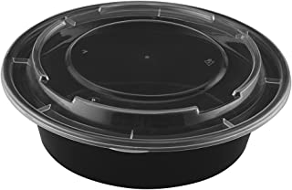 TIYA Takeout Containers - Plastic Food Storage To-Go Round Bowls - Reusable Microwavable Dishwasher Safe Restaurant Takeou...