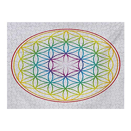 Colorful 3D Puzzles for Adults 500 Piece, Flower of Life Pattern Radiant Colors Cosmic Dimension Space Forms Artful Print, Multicolor
