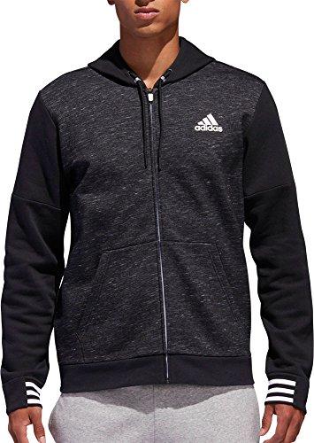adidas Men's Post Game Fleece Full Zip Hoodie (Black, Small)