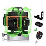 4D Laser Level 30M, 4X 360 Green Cross Line Laser Self Balancing, 16 Lines 4D Green Beam Laser Levels, Self Leveling Vertical and Horizontal Line with Remote Controller and Rechargeable Battery
