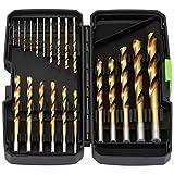 GALAX PRO Brocas Helicoidales Conjunto, 21 Piezas Juego de Brocas de Acero de alta Velocidad, Adecuado para Madera, Plástico y Metal de 1 mm a 10 mm, con Vástago Redondo Cilíndrico