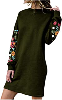 Autumn Winter Plus Size Sweatshirt Dress Women Casual Long Sleeve Floral Printed Embroidery Dress