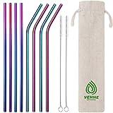 VEHHE Stainless Steel Straws Reusable Drinking Black 8 Set Metal Straws - Cleaning Brush for 20 OZ 30 OZ (4 Straight|4 Bent|2 Brush)