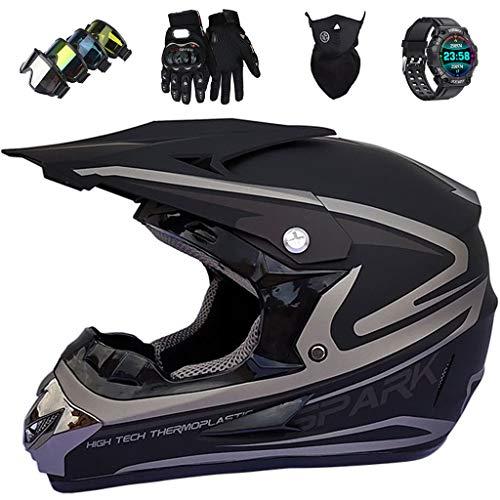 KIVEM Casco Integral MTB con Reloj Deportivo Inteligente, Conjunto de Casco de Motocross de Motocicleta Niños y Adultos en Negro Mate Moto Off Road Crash Helmet Equipo de Protección,Medium