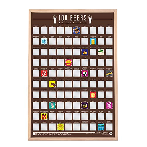 Monsterzeug Beer Bucket List Rubbelposter, Scratch Map mit 100 internationalen Biersorten, Wohn-Deko, Biergeschenke