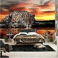 Bosakp 壁紙3D立体動物ヒョウ壁画壁紙リビングルームベッドルームソファ背景壁壁画壁紙 240X155Cm