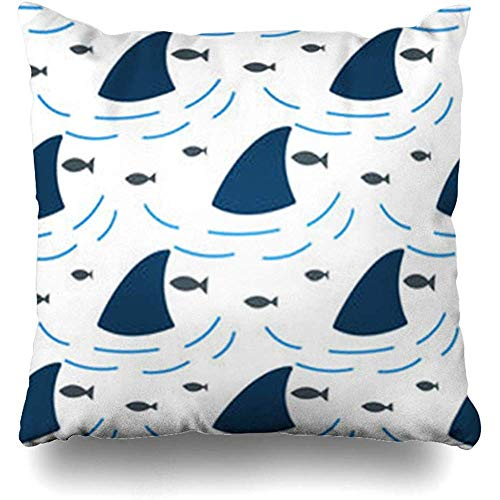 Throw Pillow Covers 40 * 40cm Flipper Outline Shark Fin Water Waves in Surface Fish Sea White Blue Wildlife Dolphin Depth Home Decor Sofa Cushion Cases Pillowcase