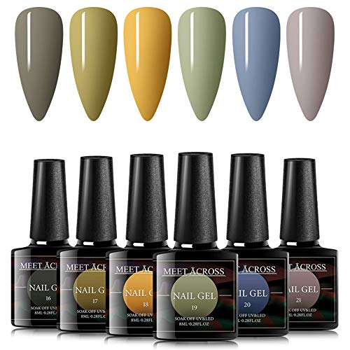 Gel Nail Polish Sets 6 Colors Grey Green Yellow Nail Art Gift Box UV LED Soak Off Nail Gel Kit 8ml
