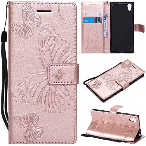 THRION Sony Xperia XA1 Hülle, PU Schmetterling Brieftaschenetui mit magnetischer Handschlaufe und Ständerhalterung für Sony Xperia XA1, Rosa Gold