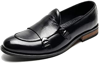 SHENTIANWEI Retro Oxfords for Men Party  Shoes Slip on Microfiber Leather Pointed Toe Block Heel Dual Monk Straps Burnished Style Solid Color (Color : Black, Size : 6 UK)