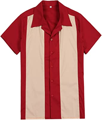 Camisa para hombre de color rojo y crema estilo vintage de rockabilly americano, para fiestas, campamentos, estilo hip hop de vaquero del oeste