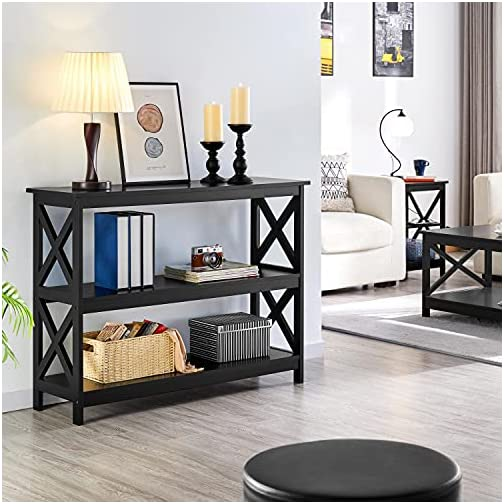Yaheetech 3 Tier Console Table with 3 Storage Shelves, Entryway Table Sofa Side Narrow Long Table Bookshelf for Hallway…
