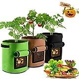 JanTeel Sac de Culture de Pommes de Terre, Croissance Sac, Sac de Plantation Jardin - 3 pcs 7 Gallons Sac de Legumes,...