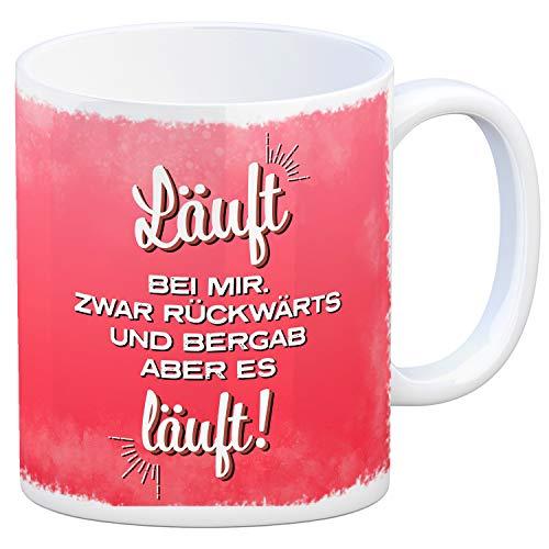 trendaffe - Kaffeebecher mit Spruch: Läuft bei Mir. Zwar rückwärts und bergab Aber es läuft.
