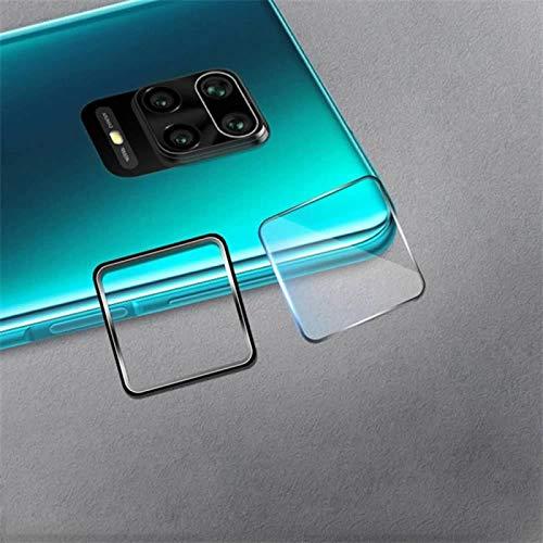 2 en 1 [7.5H 2.5D trasera de vidrio templado cámara protector película protectora+anillo de lente de metal] HD claro Ultra para Xiaomi Redmi Note 9 Pro Max-negro