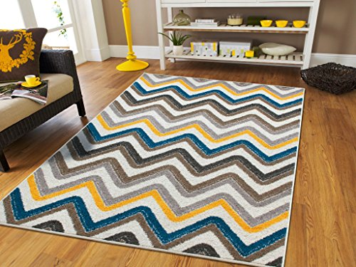 New Fashion ZigZag Style Large Area Rugs 8x11 Clearance Under 100 Blue Brown Cream Yellow Grey Best Rugs For Dogs 8x11 Area Rugs Clearance Indoor and Outdoor Carpet, 8x11 Rugs