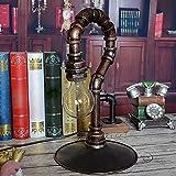 FHUA Lámpara Escritorio Lámpara Iron Craft Water Pipe Pregunta Pregunta Lámpara Personalidad Retro Café Bar Restaurante Inicio Luz Suave Lámpara Lámpara de Mesa