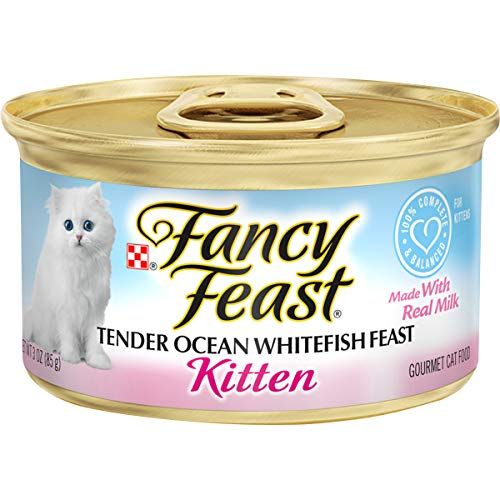 Purina Fancy Feast Wet Kitten Food, Tender Ocean Whitefish Feast - (24) 3 oz. Cans