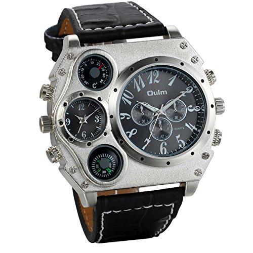 JewelryWe Herrenuhr Zwei Zeitzone Kompass Thermometer Kalender Analog Quarz Armbanduhr Schwarz Leder Armband Sportuhr mit Digital Zifferblatt Vatertagsgeschenk