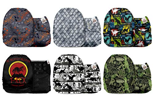 Mama Koala One Size Baby Washable Reusable Pocket Cloth Diapers, 6 Pack Cloth Nappies Without Inserts (Dinosaur Roar)