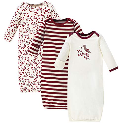 Touched by Nature Unisex Baby Organic Cotton Gowns, Berry Branch, 0-6 Months