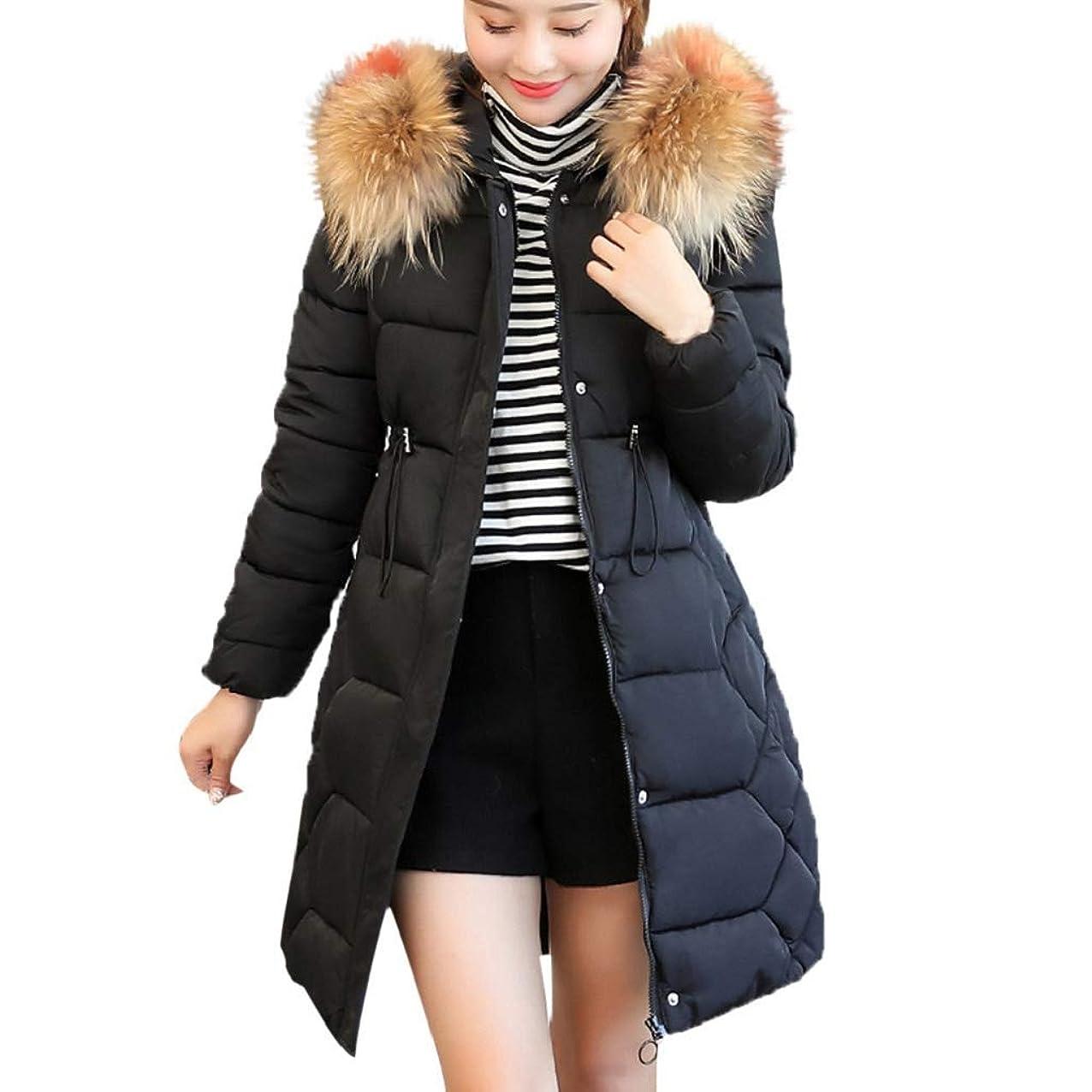 Creazrise Women's Winter Puffer Mid Length Cargo Pocket Coat Fur Trim Removable Hood (Black,3XL) tvigxcncjixhk243