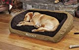 Orvis Field Collection Memory Foam Bolster Dog Bed/Large Dogs 60-90 Lbs, Field Khaki, Large
