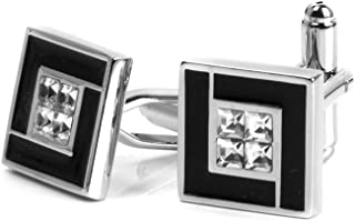 Generic 1 Pair Men's Copper Black Enamel Cuff Link Cufflinks Wedding Party Jewelry - Square