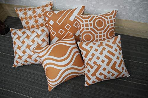 MONTANCHEZZ - Set di 6 federe per cuscino, 45 x 45 cm, stampa digitale, consistenza setosa, stile moderno, motivo Throw Pillow Case (arancione)