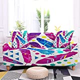 WXQY Funda de sofá con diseño de Plumas elásticas Funda de sofá retráctil Antideslizante Funda de sillón Totalmente Envuelta Funda de sofá A2 3 plazas