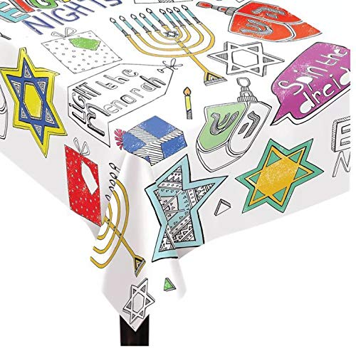 Hanukkah Coloring Table Cover 48' x 36' | Chanukah Activity Table Cover, Color Your Own & Decorate, Kindergarten Students, DIY Art & Craft, Hanukkah Party Favor
