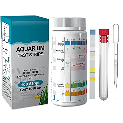 Lxiyu Aquarium Test Strip 6 in 1 (100Count), Fish Tank Test Kit for Freshwater Saltwater Fish Tank or Pond, Accurately Test Water Hardness, Nitrate, Nitrite and PH