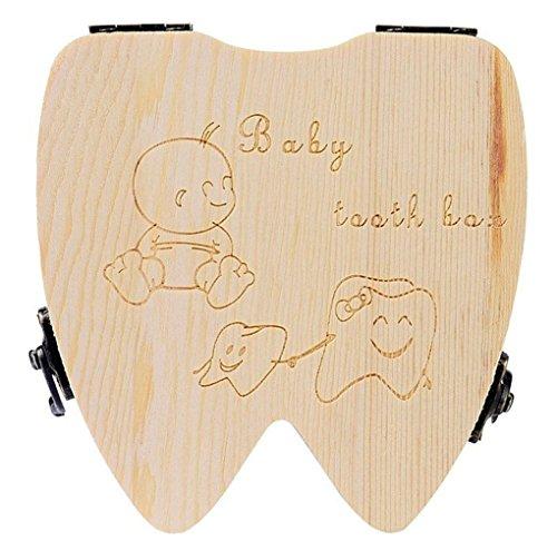 Demarkt Holz Milchzähne Box Baby Milch Zähne Aufbewahrungs box für Kinder Jungen Mädchen Prinz prinzessin Zahnbox Zahndose Milchzahndose Zahndöschen Zahnform