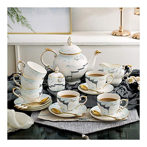 21PCS Bone China Chinese Afternoon Tea Set, tazza e piattino Pot, della famiglia di alta-end Luce della tazza di caffè semplice elegante Disegno Gold Rim Adatto for caffè pomeridiano Tea Party