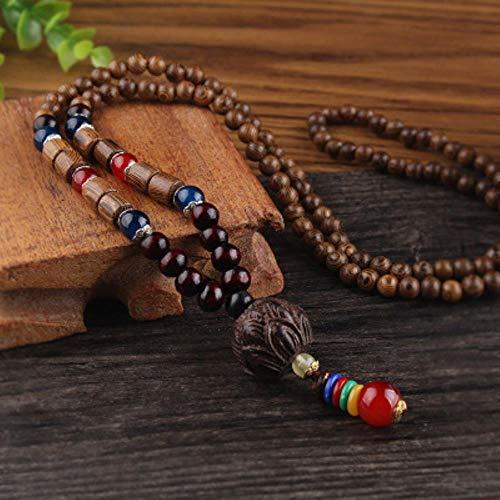 RANJN Vintage etnische stijl houten kralen stenen hangers kettingen