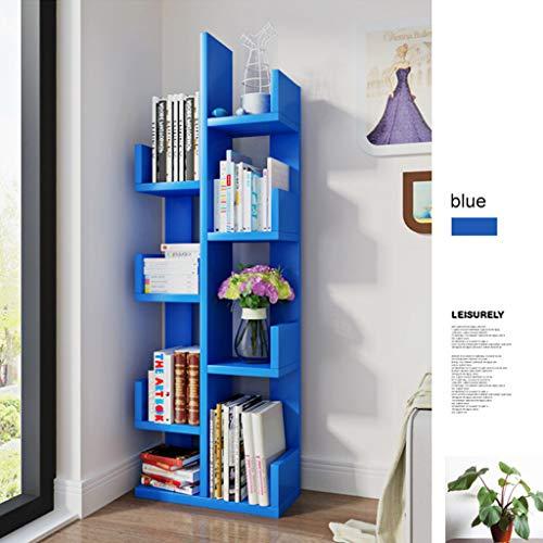 Kitchen furniture - Bibliothèque, bibliothèque d'étudiant en forme d'arbre au sol, support de rangement d'assemblage moderne pour enfants, grille simple de salon WXP (Couleur : Bleu)