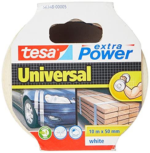 tesa extra Power Universal Gewebeband - Gewebeverstärktes Ductape zum Reparieren, Befestigen, Bündeln, Verstärken oder Abdichten - Weiß - 10 m x 50 mm
