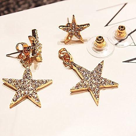 Nikgic 1 Paire Strass /Étoile Boucles doreilles La Mode Bijoux Argent