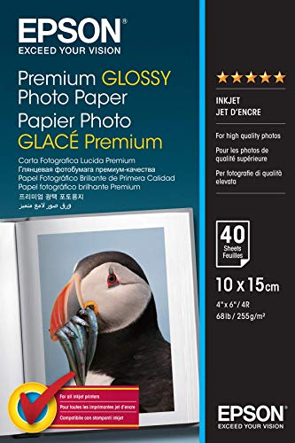Epson Premium Glossy Photo Paper - Papier Photo Brillant 10 X 15 cm - 40 Feuilles