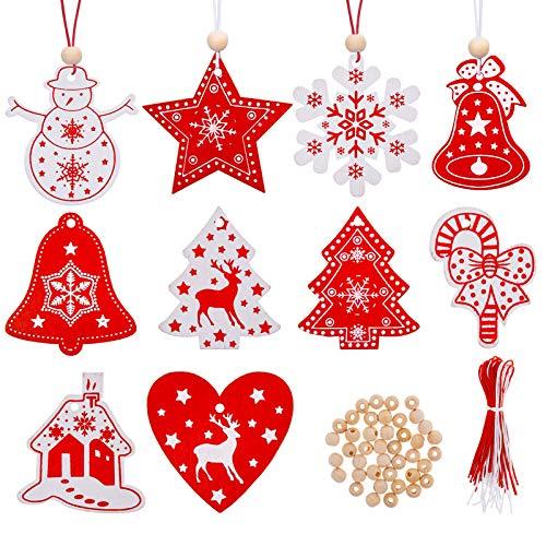 Kiiwah 40 Pezzi Ornamenti Natalizi in Legno da Appendere,Pendenti Legno Natalizi Addobbi Albero,per Albero di Natale Fai da Te Bianco Rosso