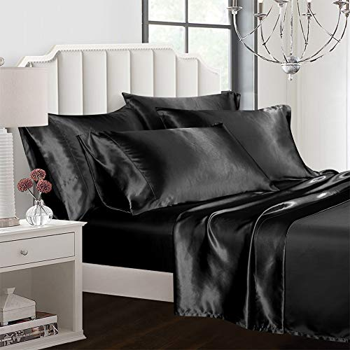 AiMay 6 Piece Bed Sheet Set Deep Pocket Luxury Rich Silk Satin Silky Super Soft Solid Color Hypoallergenic Reversible Stain-Resistant Wrinkle Free (Queen, Black)